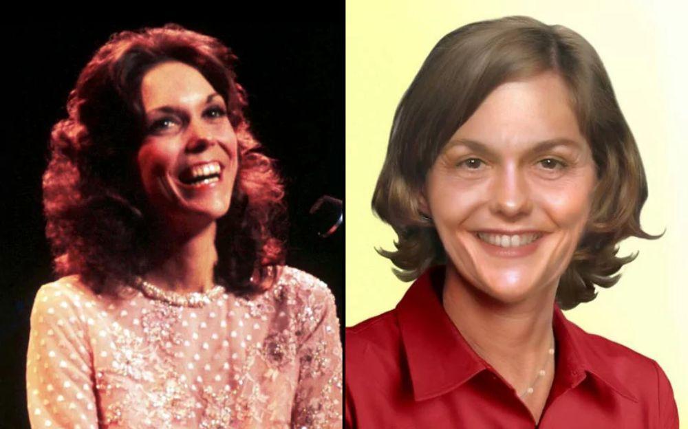 Po lewej stronie uśmiechnięta dziewczyna z długimi włosami, po prawej ta sama kobieta, nieco starsza z krótszymi włosami