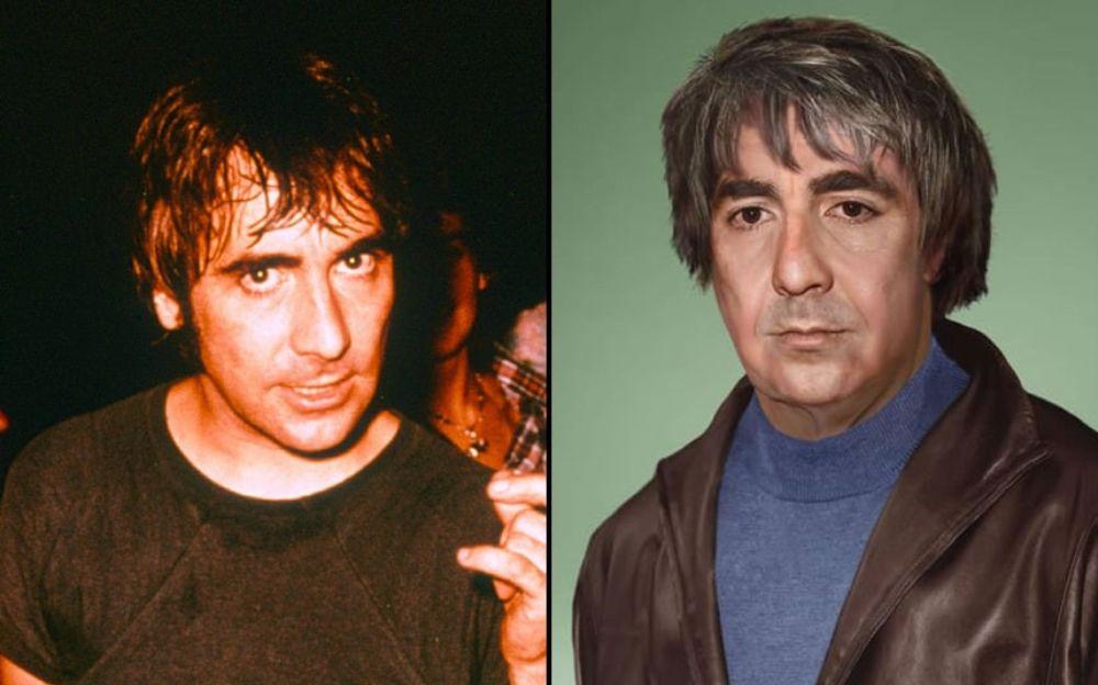 Po lewej stronie mężczyzna z brązowymi włosami opadającymi na czoło, po prawej ten sam mężczyzna z siwmi włosami