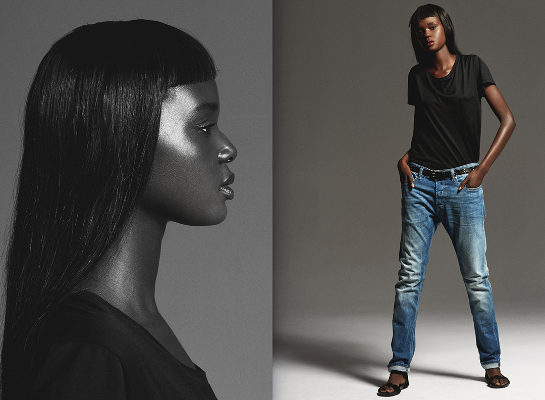 Dwie fotografie, jedna czarno biała, druga kolorwa przedstawiająca czarnoskórą kobietę