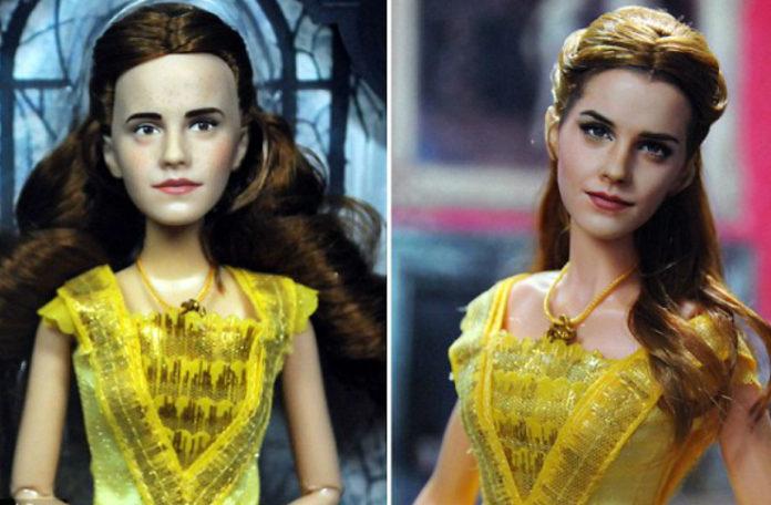 Po lewej stronie lalka przedstawiająca Bellę z Pięknej i Bestii przed retuszem i po drugiej stronie po retuszu