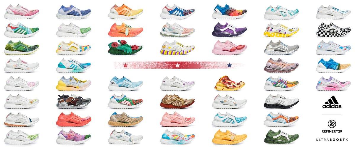 Fotografia reklamowa ukazująca 50 par butów Adidas Ultra Boost. Każdy but reprezentuje inny stan w USA.