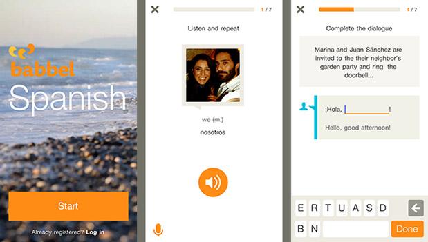 Zrzut ekranu z Aplikacji Babbel