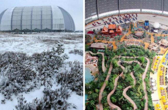 Obrazek po lewej stronie pokazuje Niemiecki aquapark zimą od zewnątrz. Jest to wielka hala uchywcona zimą. Zdjecie po prawej kontrastruje, poniewaz ukazuje park od wewnatrz, ktory wyglada jak tropikalna wyspa.