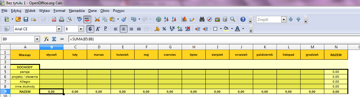 Tabelka z Excelem pokazująca wydatki budżetu domowego.