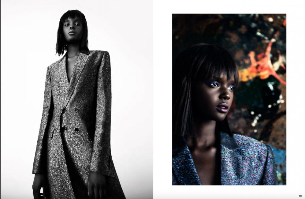 Dwie fotografie. Po lewej stronie czarno-białe zdjęcie czarnoskórej modelki. Modelka ma czarne proste włosy do ramion i grzywkę. Ubrana jest w długi wełniany płaszcz. Po prawej stronie ta sama modelka. Kolorowy portret. Modleka ubrana jest w niebieską koszulę.