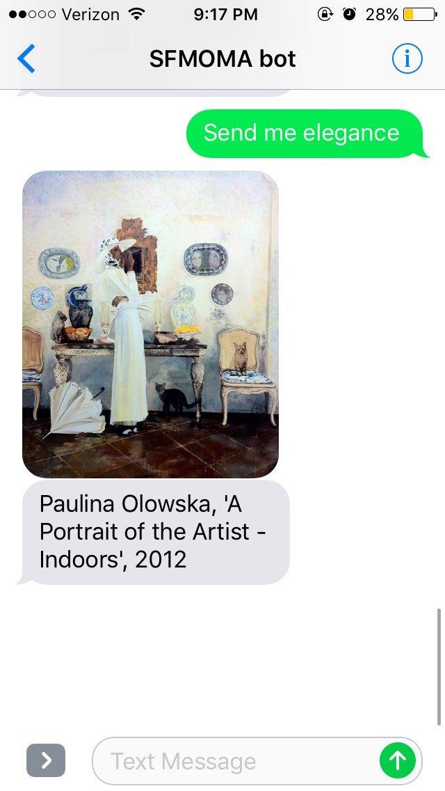 Zdjecie na ktorym widać rozmowe sms. Własciciel telefonu wyslal wiadomosc o tresci send me elegance, w odpowiedzi dostal obraz polskiej artystyki od Muzeum Sztuki Wspolczesnej w San Francisco.