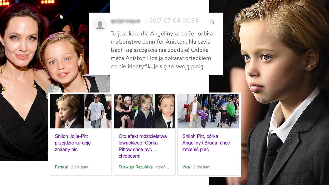 Kolaż. Po lewej zdjęcie Angieliny Jolie z córką. Na środku screenshot komentarza do artykułu, pod spodem nagłówki artykułów na temat dziewczynki. Po prawej portret Shiloh Jolie-Pitt.