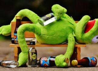 Zaba kermit leży na ławce trzymając w dłoni butelkę alkoholu, a wokół niego porozrzucane są kolejne butelki alkoholu