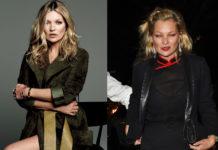Dwa zdjęcia przedstawiające kobietę, blodynkę. Po prawej stronie elegancko ubrana w płaszcz, po prawej, z zapuchnięta twarzą
