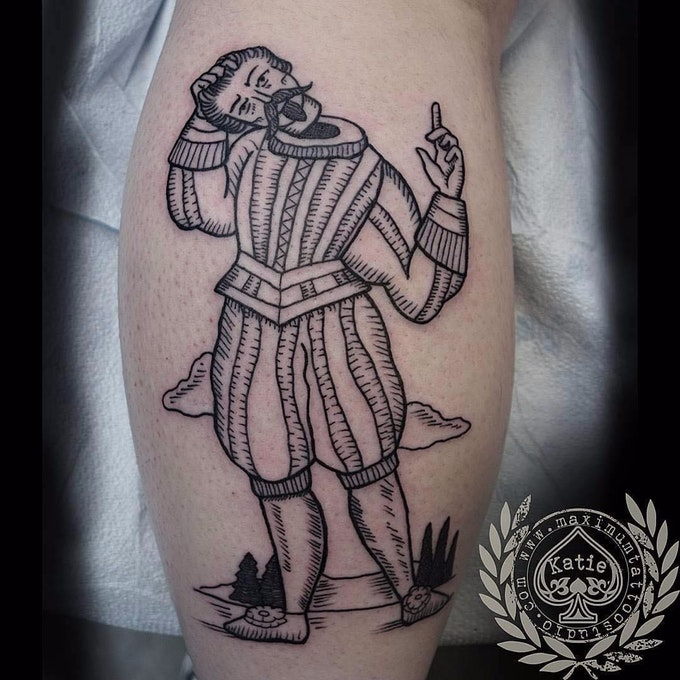Szkicowy tatuaż przedstawiający Prawie Bezgłowego Nicka