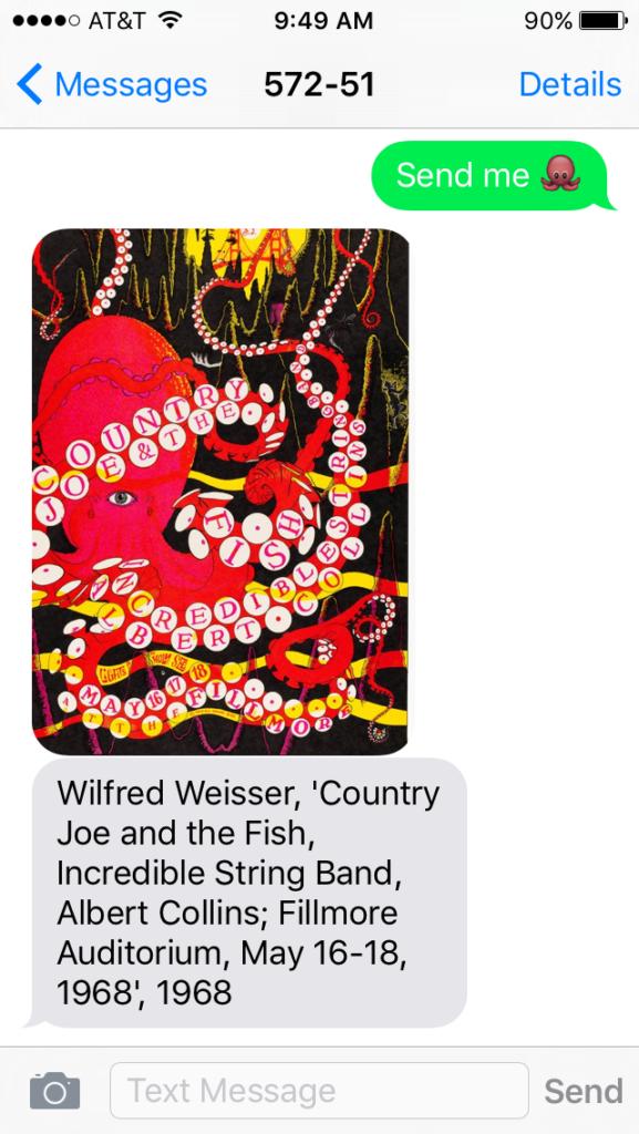 Psychodeliczny obraz osmiornicy, widac czerwona osmiornice, w biale krobki, na czarnym tle. Zdjecie wyslane przez wiadomosc SMS w ramach programu SFMOMA