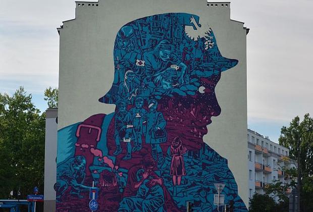 Mural na Woli, przedstawiający Powstańca z profilu