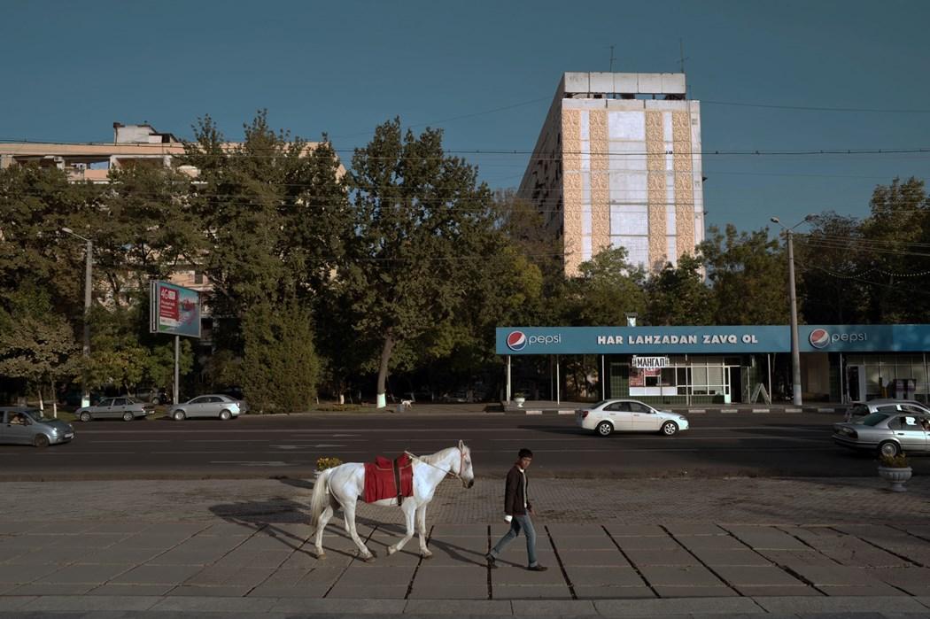 Młody męzczyzna maszeruje z koniem przywiązanym do liny przez miasto. On jest ubrany na czarno, koń jest biały. Za nim widać sklep spożywczy, jadący samochód, trochę drzew oraz budynek mieszkalny.