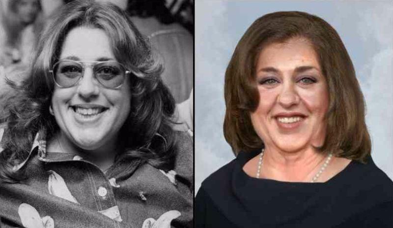 Po lewej czarno-białe zdjęcie kobiety w okualrach, po prawej kolorowe przedstawiające wizualizację tej samej kobiety w starszym wieku