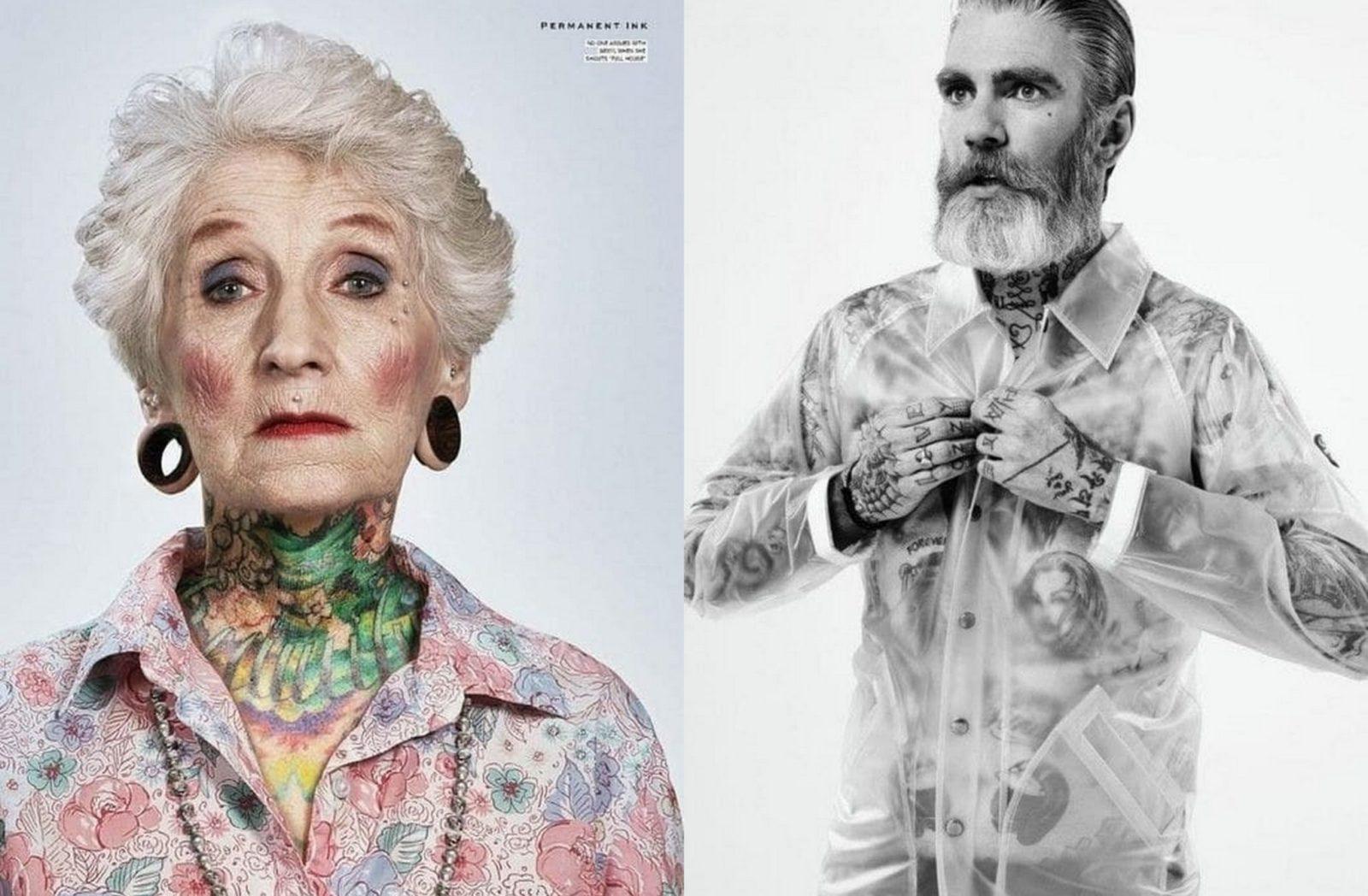 Wytatuowana starsza kobieta i Starszy mężczyzna z siwą brodą i wytatuowanym tułowiem
