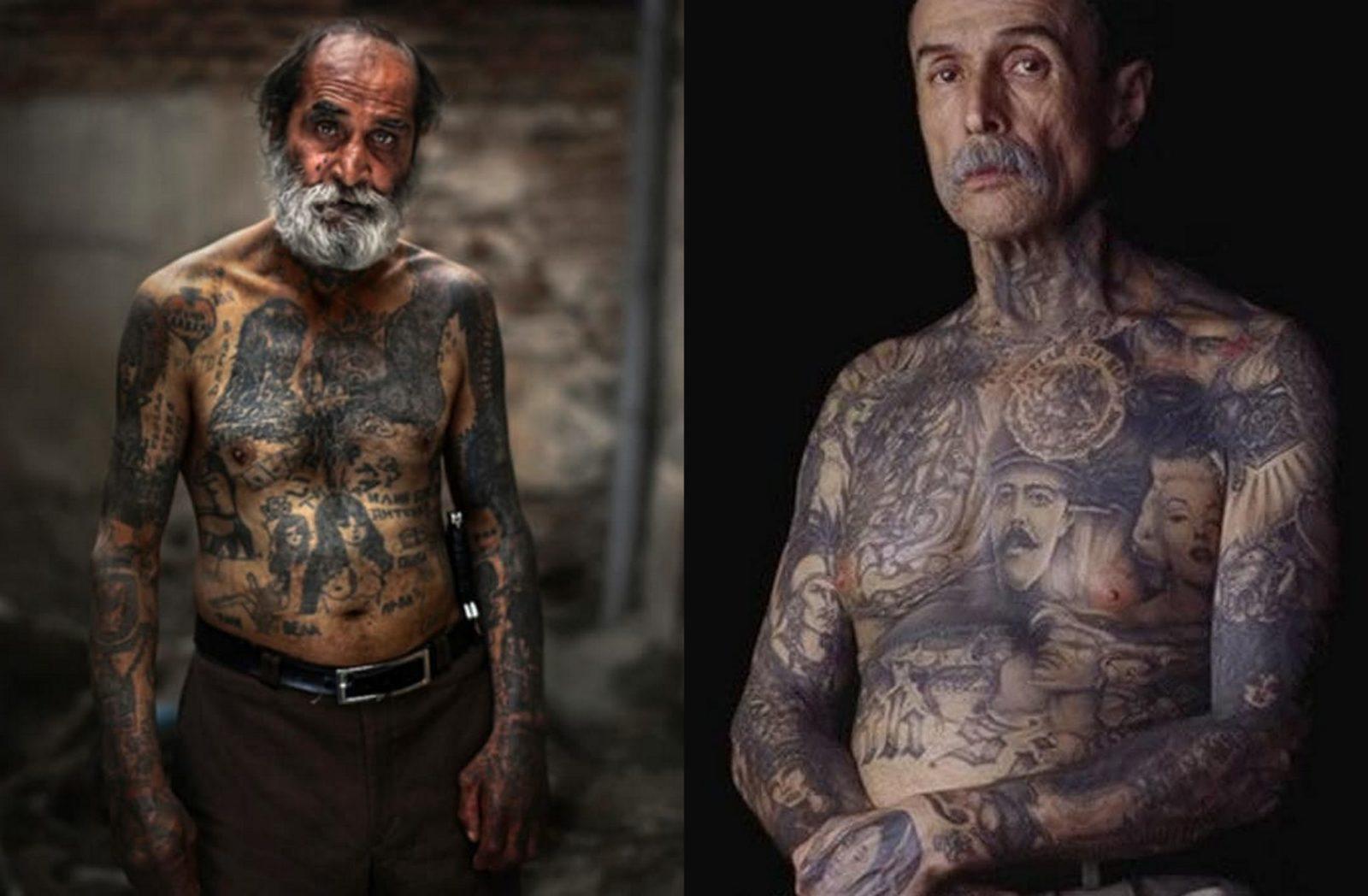 Starszy mężczyzna z siwą brodą cały w tatuażach i Starszy mężczyzna z wytatuowaną klatką piersiową i szyją