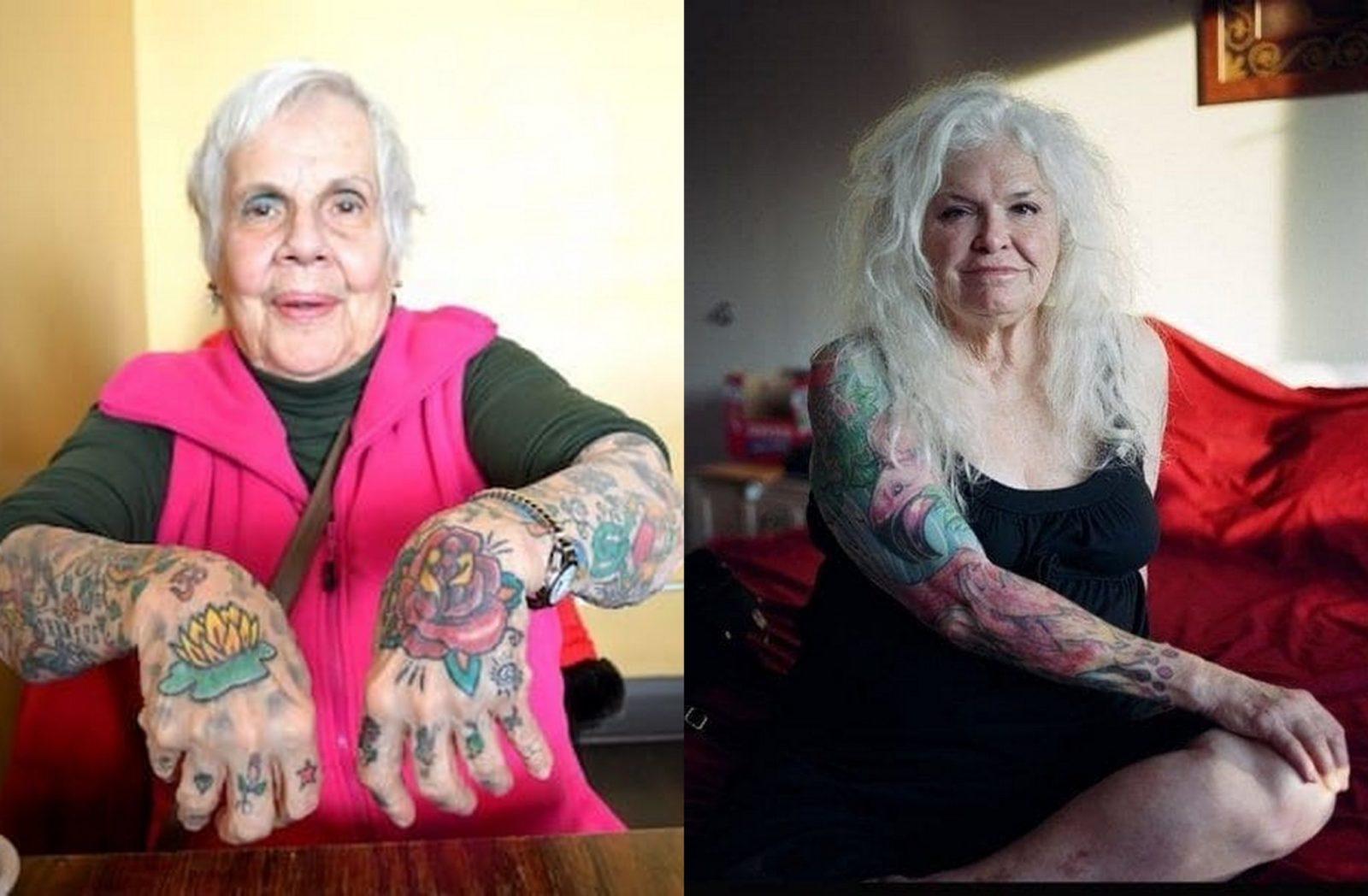 Starsza kobieta z wytatuowanymi przedramionami i dłońmi i Starsza kobieta z blond włosami i wytatuowaną prawą ręką