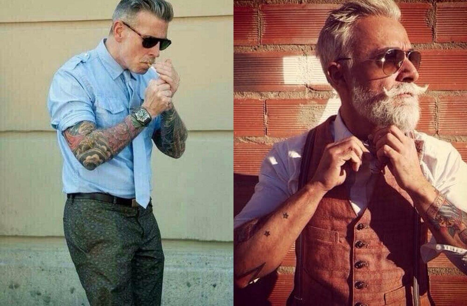 Starszy mężczyna z kamizelce i koszuli z tatuażami na prawym przedramieniu i Starszy mężczyzna w spodniach od garnituru i koszuli z wytatuowanymi przedramionami