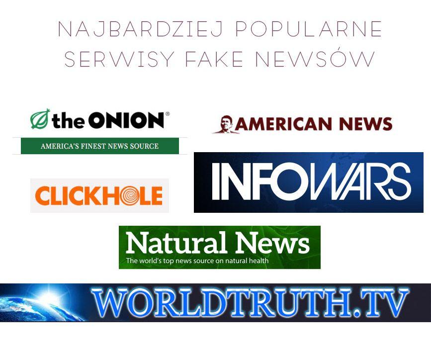 Kolaż tytułów i logo najpopularniejszych portali fake newsów