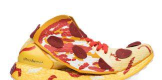 Fotografia reklamowa ukazując buty firmy Adidas, model Ultraboost w motyw pizzy