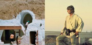 Luke Skywalker i wioska, gdzie kręcone były sceny Star Wars