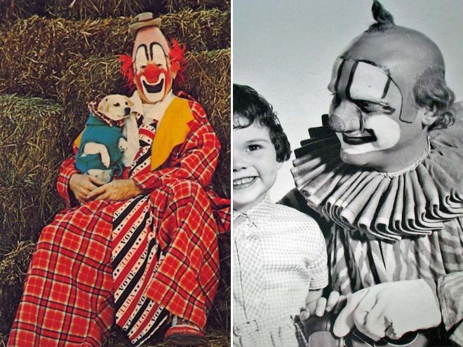 Dwa zdjęcia. Po prawej klaun z pieskiem, po lewej klaun z dzieckiem.