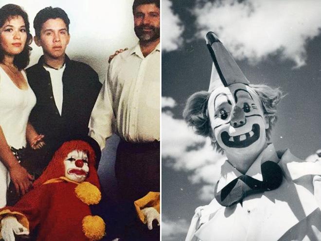 Dwa zdjęca. Po lewej klaun karzeł, po prawej klaun z nienaturalnie dużym uśmiechem.