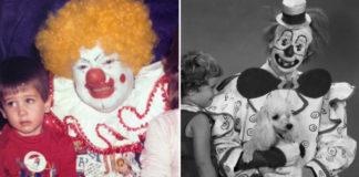 Dwa zdjęcia. Po lewej gruby agresywny klaun, po lewej klaun z pudelkiem.