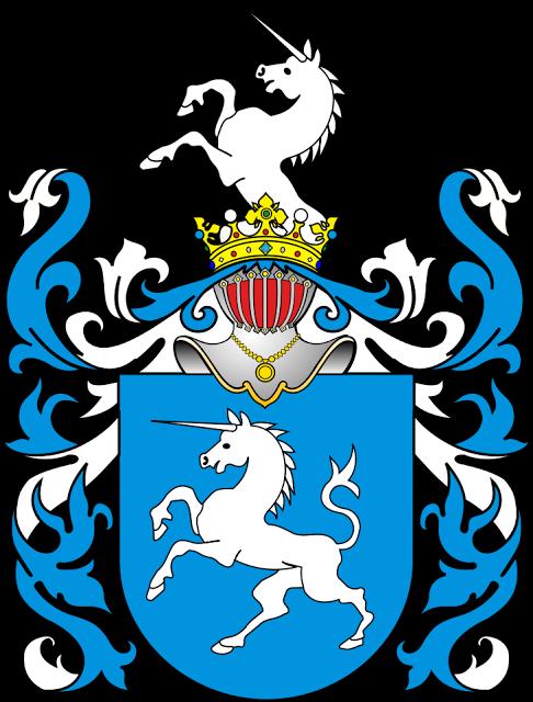 Biało-niebieski herb z jednorożcem