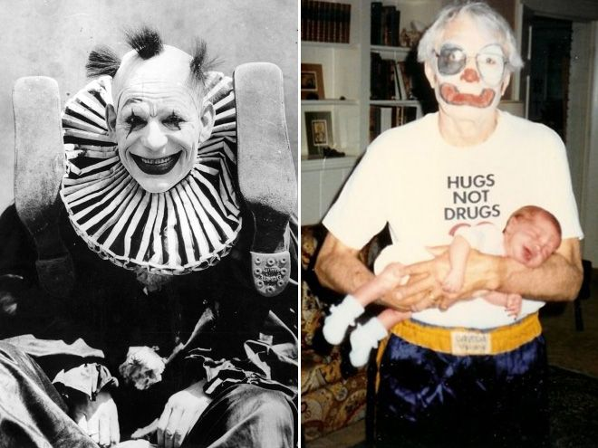 Dwa zdjęcia. Po lewej łysiejący klaun, po prawej stary klaun z niemowlakiem.