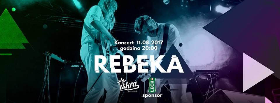 Plakat promujący koncert duetu Rebeka w warszawskim klubie Iskra