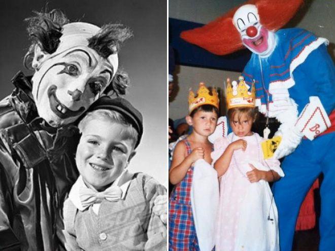 Dwa zdjęcia. Po lewej łysiejący klaun z małą blondnką, po prawej szalony klaun z dziećmi w koronach.