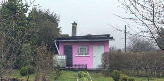 Różowy domek stojący pośrodku działki