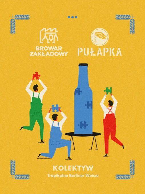 Grafika przedstawiająca kilku ludzi i niebieską butelkę