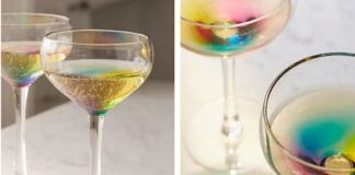 Dwa zdjęcia przedstawiające kieliszki z efektem tęczy na dnie