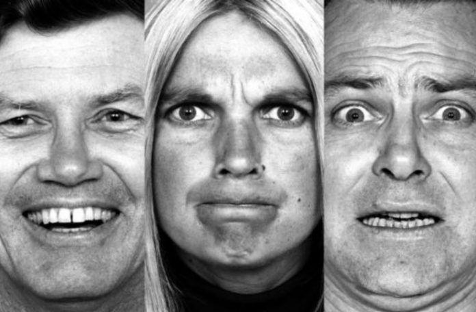 Ludzie pokazujący różne emocje. Od prawej: zdzwiwienie, strach, złość radość, smutek.