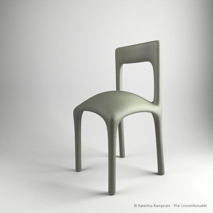 Krzesło z wybrzuszeniem na siedzeniu
