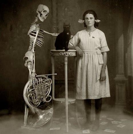 Zakład doktorski. Kościotrup trzyma trąbę i głaszcze czarnego kota. Przy nim stoi młoda dziewczyna.