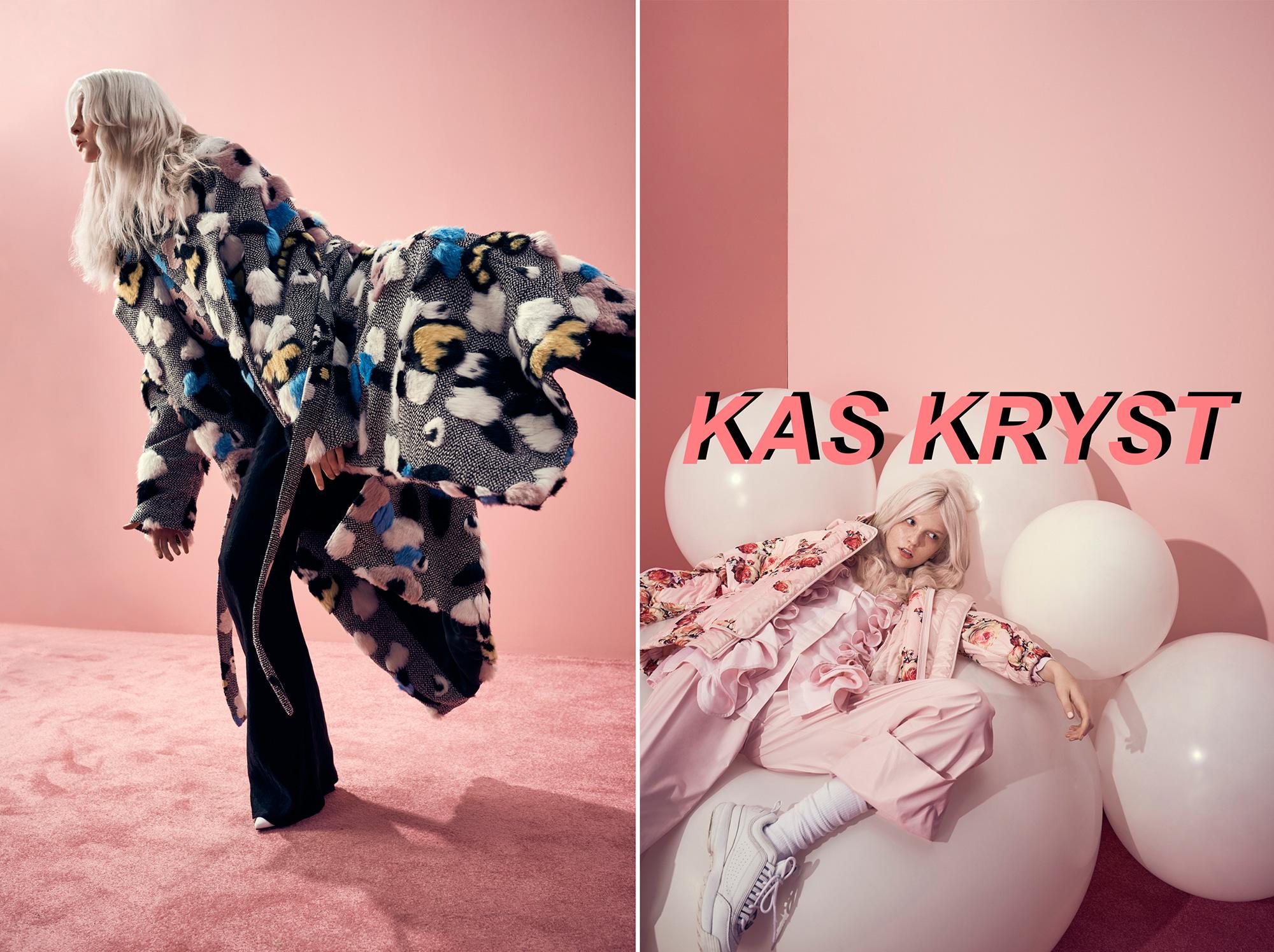Jedno zdjecie polaczone z dwoch na kazdym wystepuje rozowe tlo i rozowy dywan na pierwszym od lewej widac dziewczyne w blond wlosach w ruchomej pozie ubrana w dlugi puchowy plaszcz i czarne spodnie na zdjeciu po prawej stronie blondynka ubrana w rozowa kurtke rozowe spodnie i falbany lezy na bialych balonach