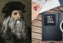 Portret Leonarda Da Vinci, a obok notes z napisem GET SHIT DONE