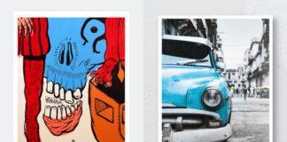 Dwa plakaty, jeden surrealistyczny w kolorach czerwieni i błękitu, drugi przedstawia stary samochód w niebieskim kolorze