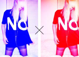 Dwa takie same zdjęcia blondwłosej dziewczyny z zakrytą włosami twarzą w długiej koszulce z napisem NO - jedno zdjęcie czerwone, drugie niebieskie