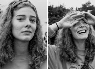 Dwa czarno-białe portrety dziewczyny w kręconych włosach do ramion. Na jednym patrzy się prosto na kamerę, na drugim śmeje się i patrzy w niebo