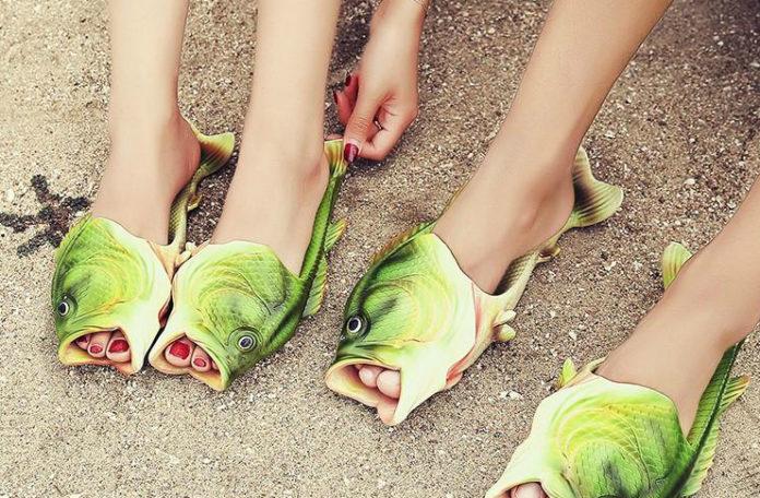 Klapki w kształcie zielonej ryby