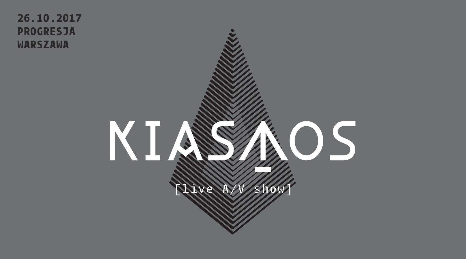 Grafika na szarym tle przedstawiająca trójkątną bryłę z napisem Kiasmos w środku