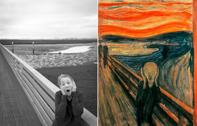 Porównanie obrazu Muncha do zdjęcia Laury, które przedstawia to samo co na obrazie.