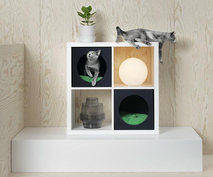 Meble Ikea zaaranżowane dla kota