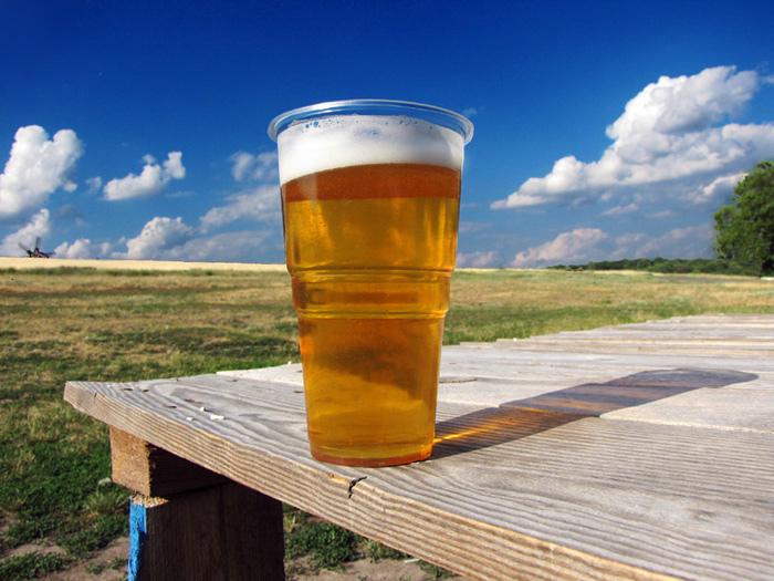 Pokal z piwem stojący na stole, a w tle słoneczny krajobraz łąki