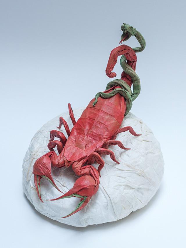 skorpion z wężem - origami