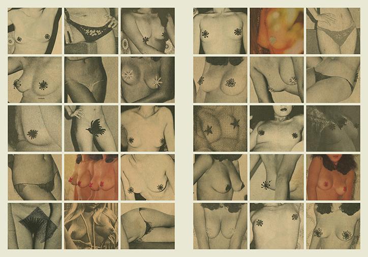 Dużo obrazków przedstawiających kobiece piersi, zasłonięte cenzurą